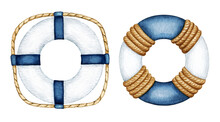 Watercolor Blue White Life Buoy Set. Safety Ring With Rope. Nautical Vessel Part, Rescue Equipment. Hand Drawn Sea Traveling Clipart, Elements Isolated For Marine Design Logo, Print, Poster, Card