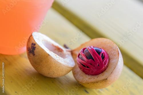 Obraz na plátně Nutmeg fruit seed and mace