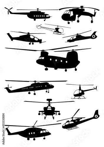 Leinwand Poster Set of Helicopter Silhouettes - Vector Image