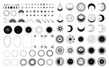 Sun, Moon, Stars Symbol. Astrology Theme. Stock Vector
