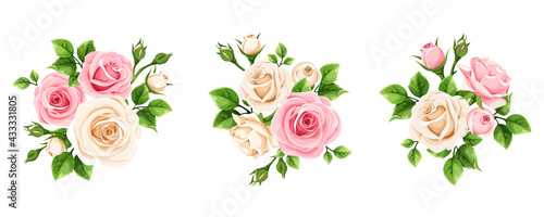 Canvas-taulu Vector set of pink and white rose flowers isolated on a white background