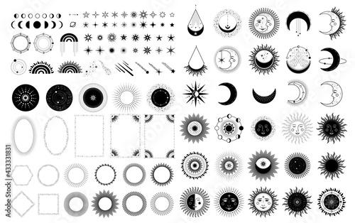 Photo Sun, Moon, Stars Symbol. Astrology Theme. Stock Vector