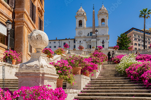 Fototapeta Perspective panorama of the famous Spanish Steps with the Trinita dei Monti church the obelisk in the center of Rome, with a blue sky, clouds and azaleas flower display