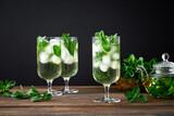 Fototapeta Kawa jest smaczna - Iced mint tea, refreshing herbal drink in a glass with ice and fresh leaves on dark background