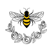 Honey Bee In A Flower Frame. Floral Frame Wreath Made Of Rose Flowers And Leaves. Suitable For Cutting SVG Files On A Plotter. Bumblebee For T-shirt Design