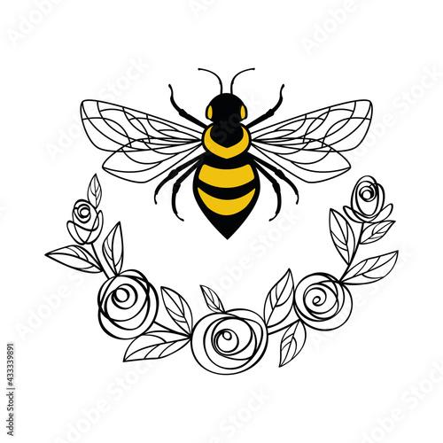 Honey bee in a flower frame Fototapeta