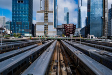 NEW YORK, USA - July 23, 2018: New York Subway Trains At The End Of The Line ,