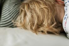 Blonde Head Of Hair Of Sleeping Baby