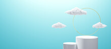 White 3d Podium And Minimal Cloud Scene With Golden Glass Ring Frame, Product Display Background,3d Rendered Geometric Shape Blue Sky Or Trendy Empty Podium Display For Cosmetic Product Presentation