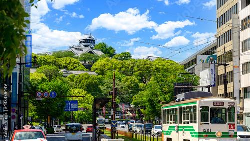 Leinwand Poster 天守閣復旧完了 繁華街・ビジネス街・電車通り・風景2021年4月撮影 よみがえれ熊本城(復興シンボル)  日本・九州・熊本県熊本市2021年春撮影 Restor