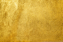 Golden Wall Texture Rough Background Abstract Concrete Floor Or Old Cement Grunge Background With Gold Empty.