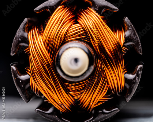 Valokuva macro shot of electrical motor coil