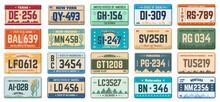 Car Number Plates. Vehicle Use States License Registration Plates, Retro Automobile License Plates Vector Illustration Set. Car Registration Signs