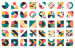 Abstract bauhaus shapes. Modern circles, triangles and squares, minimal style bauhaus figures vector illustration set. Graphic style design elements