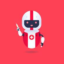 Medical Friendly Android Robot Holding Syringe Vaccination Medicine. Robot Doctor Concept.