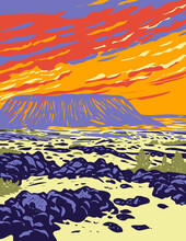 WPA Poster Art Of Amboy Crater, An Extinct Cinder Cone Volcano In Mojave Desert Within Mojave Trails National Monument California In Works Project Administration Style Or Federal Art Project Style.