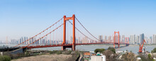 Panoramic View Of The Golden Gate Bridge, USA Against A Blue Sky