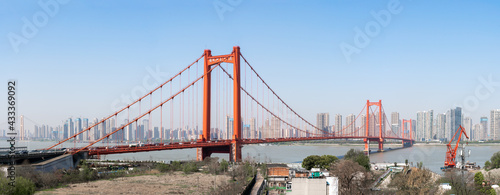 фотография Panoramic view of the Golden Gate Bridge, USA against a blue sky