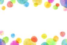 カラフルで綺麗な水彩のドットフレーム