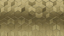 3D Tiles Arranged To Create A Gold Wall. Diamond Shaped, Luxurious Background Formed From Glossy Blocks. 3D Render