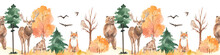 Watercolor Seamless Border With Autumn Forest, Bear, Deer, Hare, Fox, Owl
