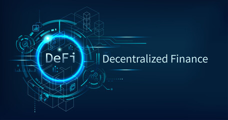 DeFi Decentralized Finance banner for decentralized financial system, cryptocurrency, blockchain, and digital asset. Futuristic vector landing page concept background.
