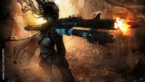 Fotografia A beautiful, slender, long-haired sniper girl takes aim with her fancy saifi rifle, peering into the distance with her cybernetic eye, in the middle of the ruins of a large city