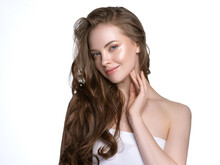 Young Beautiful Model With Beautiful Healthy Skin And Perfect Hairstyle Female Model Portrait