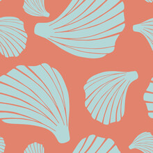 Trendy Flat Silhouette Sea Shells Seamless Pattern For Fabric, Textile, Apparel, Cloth, Interior, Stationery, Package. Modern Handmade Aquatic Endless Texture. Tropical Ocean Shells Editable Design.