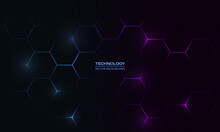 Dark Hexagonal Technology Abstract Vector Background With Blue And Pink Colored Bright Flashes Under Hexagon. Hexagonal Gaming Vector Abstract Background.