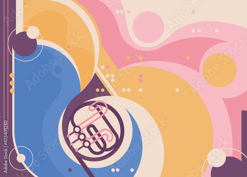 Photo Abstract banner template with french horn