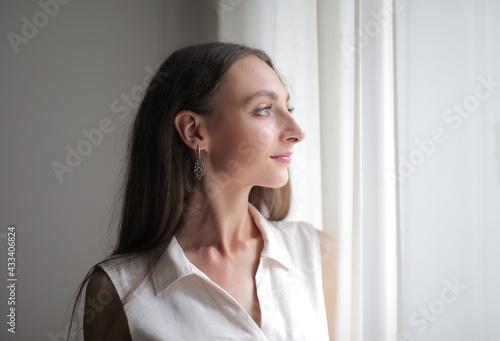 portrait profile of a caucasian woman