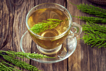 Herbal Tea Made From Horsetail Or Equisetum - A Medicinal Plant