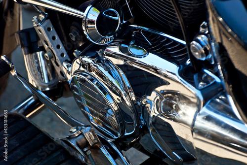 Motorcycle engine closeup Fotobehang