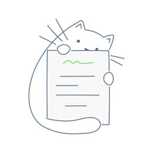 The Cute Cartoon Cat Is Holding A Paper Sheet With Some Notes On It. Prescription, Notes, Instructions, Documents, And Letters. Thin Line Vector Illustration On White.