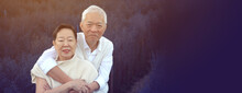 Asian Senior Couple Hugging Dating Anniversary At Purple Flower Field Together