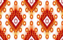 Ikat Ethnic Indian Seamless Pattern Design. Aztec Fabric Carpet Mandala Ornament Native Boho Chevron Textile Decoration Wallpaper. Geometric Vector Illustrations Background.