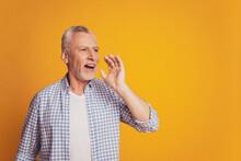 Photo Of Attractive Grandpa Scream Empty Space Hand Near Mouth Share Secret