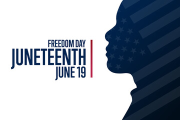 Juneteenth. Freedom Day. June 19. Holiday concept. Template for background, banner, card, poster with text inscription. Vector EPS10 illustration.