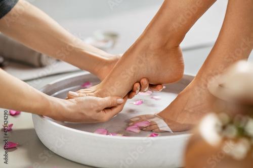 Obraz na plátně Beautician washing woman feet for pedicure treatment