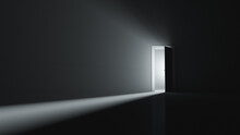 A Slightly Open Door To A Room With Bright Light. Copy Space.