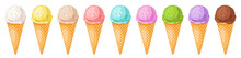 Ice Cream Collection.Set Of Different Colorful Scoops And Waffle Cone.Sweet Summer Frozen Dessert Vector Illustration.Gelato In Various Flavors:vanilla, Strawberry, Chocolate For Wallpaper, Background