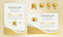 Simple Luxury Gold Wavy Lines Certificate Of Appreciation With Badge And Border Template