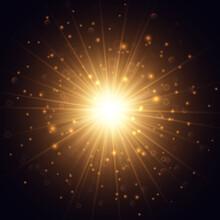 Golden Glowing Outburst Shining In The Dark