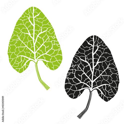 Burdock leaf print in black and green Fototapeta
