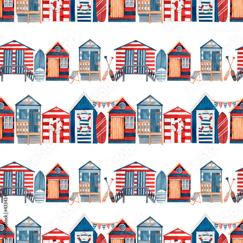 Fototapeta Seamless pattern with watercolor surf beach huts.