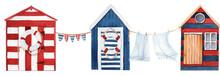 Watercolor Summer Beach Huts.