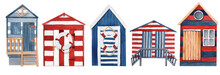 Set Of Watercolor Colorful Beach Huts.