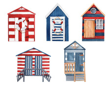 Watercolor Hand-drawn Holiday Beach Houses.