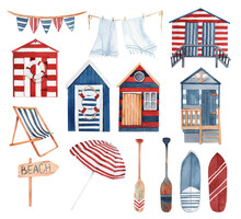 Large Watercolor Set Of Summer Illustrations - Beach Huts